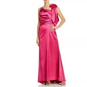 Eliza J Pink Bow Shoulder Satin Gown Fuchsia Dress